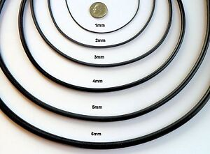 1-2-3-4-5-or-6mm-Black-rubber-cord-necklace-sterling-pick-length-USA-SELLER