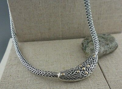 Sterling Silver & 18K Gold Celtic Labyrinth Dragon Weave Necklace by Keith Jack