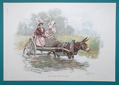 DONKEY CART Ladies Wild Ride Through River - COLOR Victorian Era Print