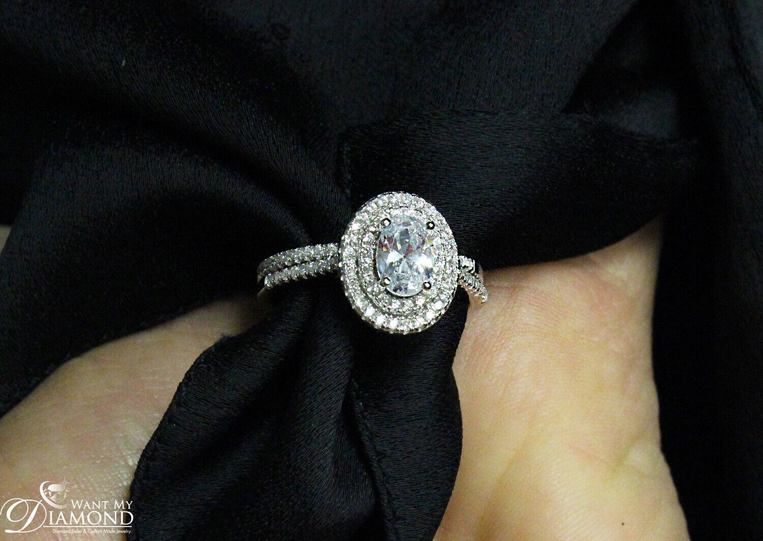 GIA Certified Diamond Engagement Double Halo Ring 1.89 CT Oval Shape 18k Gold 7
