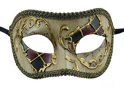 Mask from Venice Colombine Black Red Golden Costume-Ball Masquerade - 1092 -V55