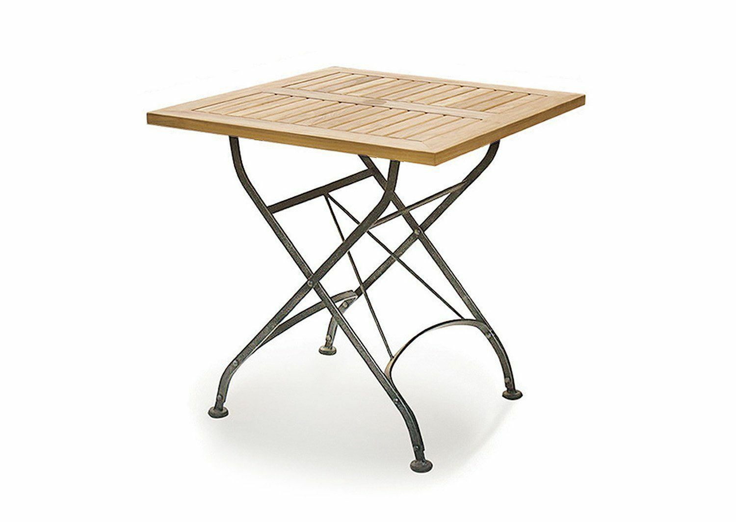 Café square folding bistro table teak and metal 0 6 m fully assembled