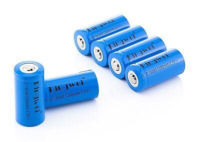 Kingwei 16340 Akku Batterien CR123A  RCR123A 1200mAh 3,7V Li-Ion Wiederaufladbar