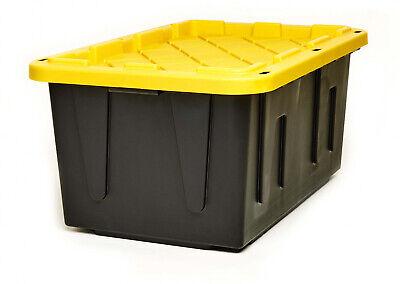 Heavy Duty Plastic Organizer 27-Gallon Tough Tote Box Storage Container Set of -
