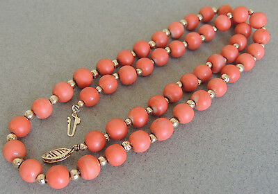 Natural Coral Beaded Necklace Strand MOMO 14K Clasp
