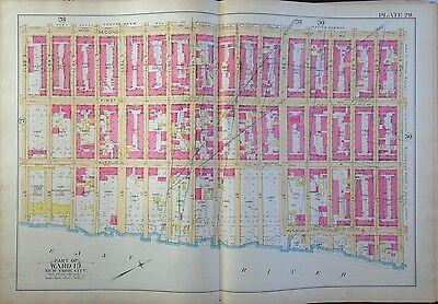 1891 ROBINSON UPPER EAST SIDE MANHATTAN E68-E84 E. RIVER-2ND AV ORIG MAP ATLAS