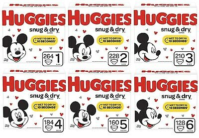 FREE shipping Huggies Snug & dry diapers Size 1 to 6  U pick the size & -