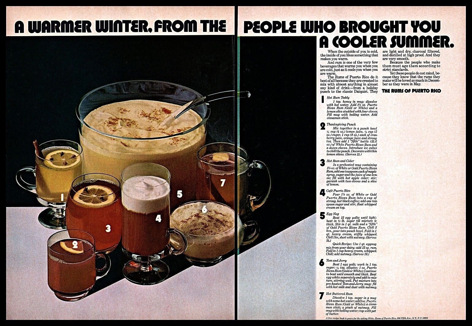 Details about 1970 The Rums of Puerto Rico Warm Winter Drinks Recipes  Vintage 1970s PRINT AD