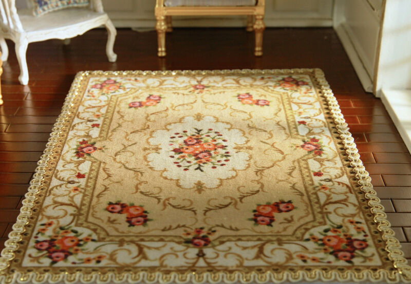 Beautiful Dollhouse 1/12 Scale French Swirls Floral Vintage Miniature Lace Rug