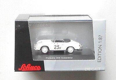 Speedster Car (WHITE PORSCHE 356 SPEEDSTER RALLY RACE CAR #23F SCHUCO 1:87 HO SCALE DIE-CAST  )