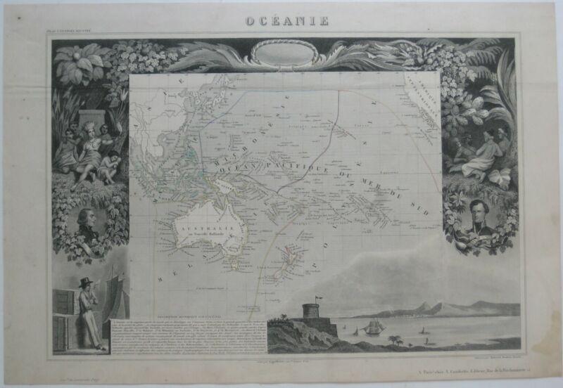 Original 1856 Decorative Levasseur Map OCEANIA Australia Hawaii Polynesia Borneo