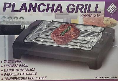 Plancha Grill Barbacoa 2000W Temperatura Regulable Bandeja Metálica Tacto Frió