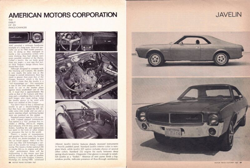 1968 AMC JAVELIN ~ ORIGINAL NEW CAR INTRO ARTICLE / AD
