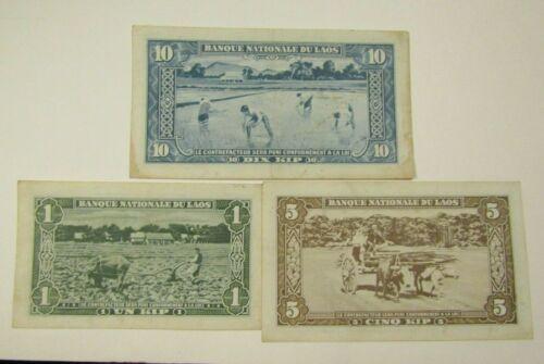 Laos Set of 3 Banknotes 1 Kip 5 Kip 10 Kip Paper Money
