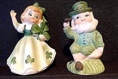 Lefton Irish Lassie (#403 w/foil sticker) & Old Man Figurines ~ ST PATRICK'S DAY