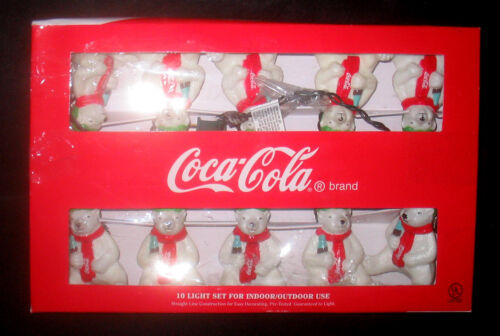 COKE Coca Cola Polar Bear Christmas String Lights
