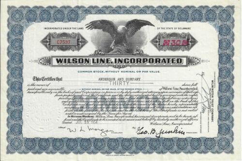 NEW YORK NEW JERSEY 1954 Wilson Line Inc Stock Certificate Passenger Ships
