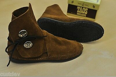 """NEW TAOS """"INDIAN MAID"""" WOMENS BROWN Leather MOCCASINS Rubber Soles 3000WS"""