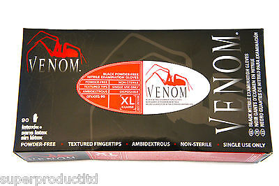 2,10,20,50,100,200 Venom Tattoo Disposable Nitrile Powder Latex Free Black Glove on Rummage