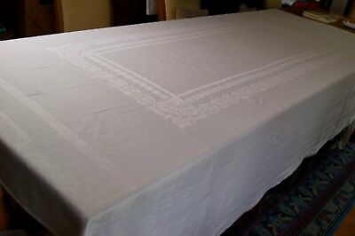 ANTIQUE WHITE IRISH LINEN DAMASK TABLECLOTH 101