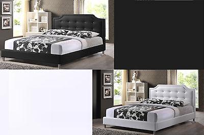 MODERN DOUBLE FULL PLATFORM BED CRYSTAL TUFTING BLACK OR WHITE FAUX - White Double Platform Bed