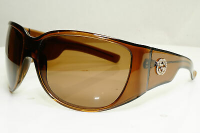 Authentic GUCCI Womens Vintage Sunglasses Brown Square GG 2535 Crystal - 30508