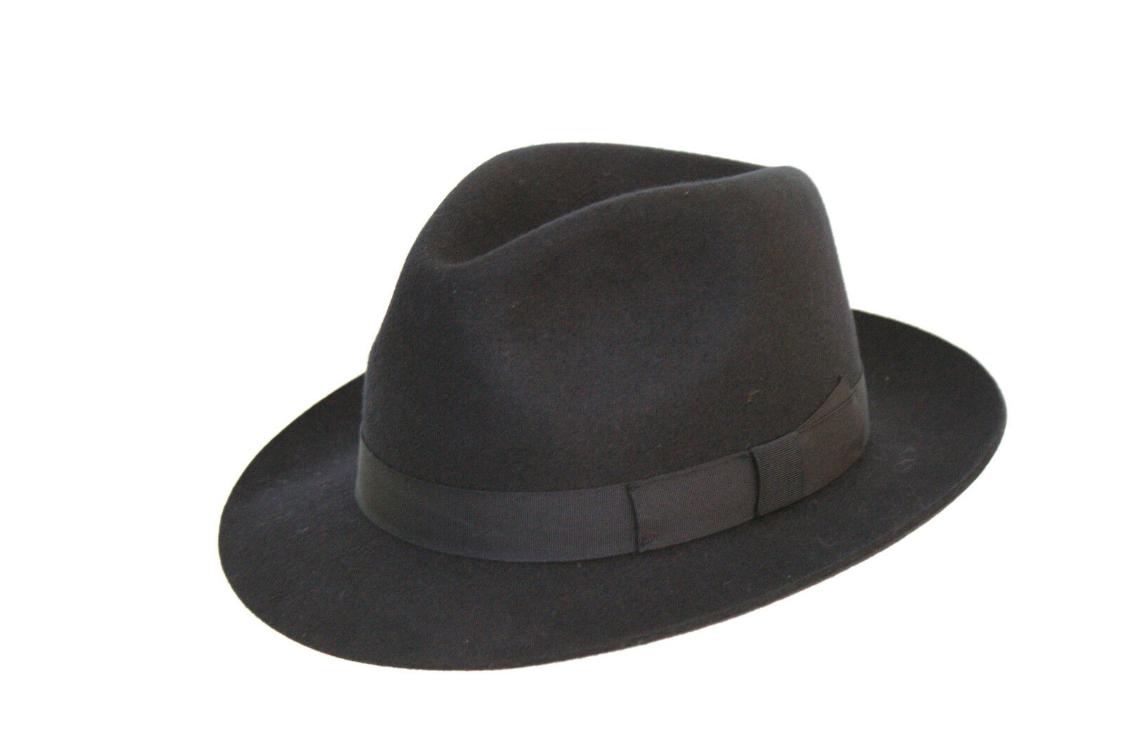 DH Maroon Hand Made Gents Fedora Felt Trilby Hat with Wider Brim 100/% Wool New