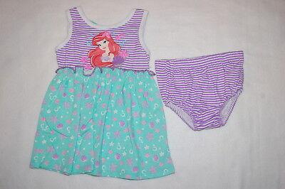 Baby Girls THE LITTLE MERMAID Ariel DRESS & BLOOMERS Purple Mint Green 3-6 MO - Little Mermaid Purple Dress