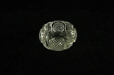 ANTIQUE ROUND DIAMOND POINT CIRCLES PATTERN CUT GLASS OPEN SALT CELLAR DIP DISH Diamond Point Pattern Glass