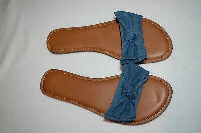Womens Sandals BLUE DENIM LOOK SLIDES Open Toe KNOTTED BOW Size 6 7 8 9 10 11 Denim Open Toe Sandals