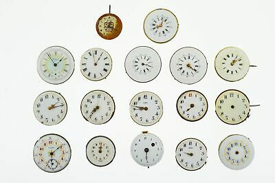 Lot 17 Fancy Porcelain Dial Pocket Watch Movements Fusee Mechanical Parts Repair