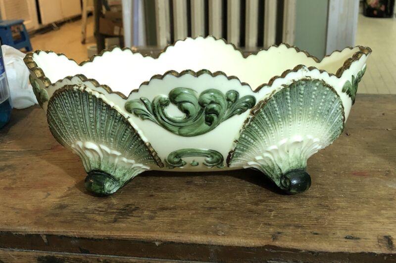Victorian white custard glass wide bowl big green shells & scrolls.