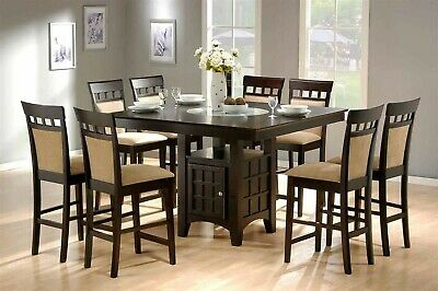 Transitional 9-Piece Counter Height Dining Set, Storage Cabinet & Lazy Susan