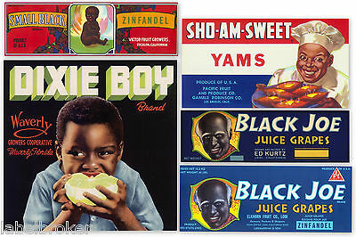 5 GENUINE CRATE LABELS VINTAGE BLACK AMERICANA 40S-60S DIXIE BOY ADVERTISING OLD