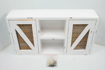VANDNALI Country Farmhouse Wall Cabinets Rustic Distressed White Washed Finish