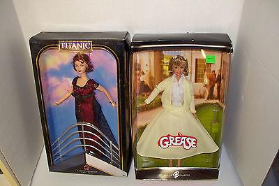 lot of 2 celebrity Barbie dolls Mattel Grease Olivia Newton John & Titanic Kate