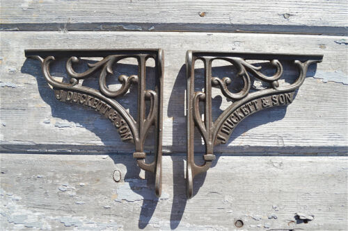 PAIR OF SMALL ANTIQUE STYLE J DUCKETT & SON CAST IRON SHELF BRACKETS BRACKET
