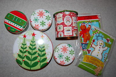 Christmas Holiday 12 COOKIE BAGS & 5 METAL TREAT TINS LOT Canister - Holiday Cookie Bags