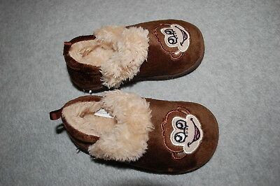 Baby Toddler Boys BROWN MONKEY SLIPPERS Faux Fur Lined RUBBER SOLE Size 3 4 5 - Boys Monkey Slippers