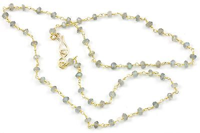 Blue Flash Labradorite Facet Necklace beaded 14k gold fill chain 18 19 In small