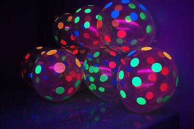 Clear Latex 11 inch Neon UV Blacklight Reactive Polka Dot Balloons