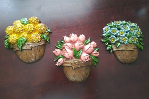 Sexton Flowers set of 3 Metal Wall Hanging Plaques Decor Vintage 1978