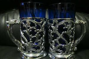 x2 Cobalt Blue Glass Cup Silver Color Detail Made Japan Ferntree Gully Knox Area Preview