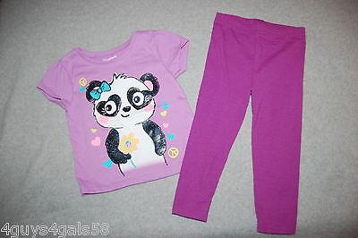 Toddler Girls Outfit CUTE PANDA BEAR S/S T-SHIRT Flowers Bow LEGGINGS Purple 2T