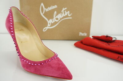 Christian Louboutin Pink Suede Anjalina Pointed Toe Pumps Size 38 NIB $845
