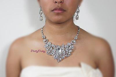 Bridal Wedding Clear+AB Rhinestone Crystal Flower Necklace + Earring Jewelry Set