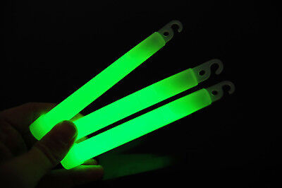 Set of 6 Green Jumbo 6 Inch 12 Hour Safety Glow - Safety Glow Sticks