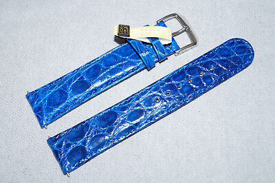 Genuine Croco Alligator Leather 20mm Watch Strap Band Blue for ROLEX MILGAUSS