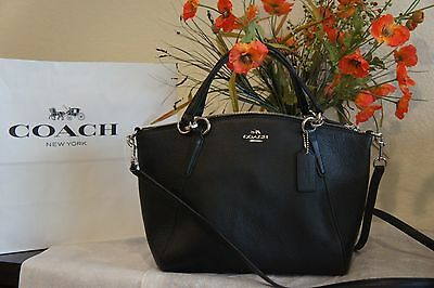 NWT Coach F36675 Small Black Leather Kelsey Crossbody Purse Handbag