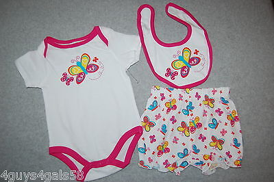 - Baby Girls Outfit 3 PC SET Jumper Bib Bloomer Shorts WHITE PINK Butterfly 3-6 MO